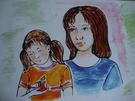 Девочка с мамой для рассказа Яблоко