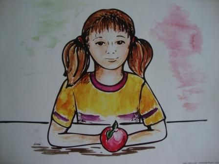 Девочка с яблоком для рассказа Яблоко