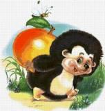 Ёжик с яблоком картинка