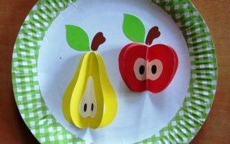 Объемная аппликация яблоко и груша на тарелке фото