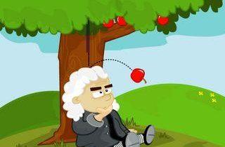 Ньютон и яблоко падающее на голову картинка